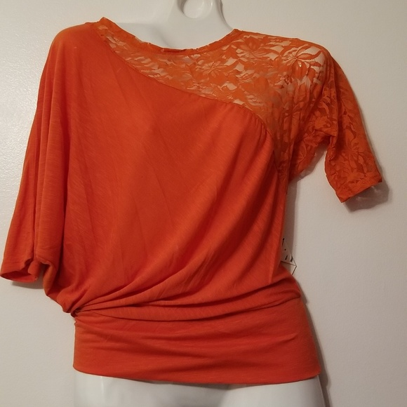 7907fb84 Derek Heart Tops | Orange Junior S Elbow Sleeve Lace Top | Poshmark
